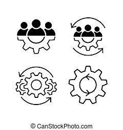 Teamwork line icon set in flat. Leadership symbols