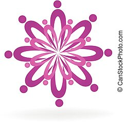 Teamwork lotus flower spa symbol logo