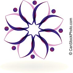Teamwork lotus people shape logo