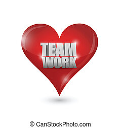 teamwork love heart illustration design