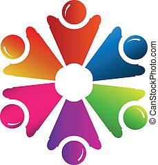 teamwork, ludzie, grupa, logo, wektor