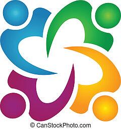 teamwork, ludzie handlowe, grupa, logo