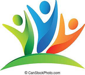 teamwork, lycklig, folk, logo
