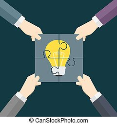 TeamWork Make Idea Come True Illustration - four hand...