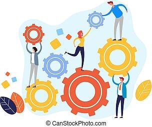 Teamwork management concept. Vector flat cartoon graphic design illustration