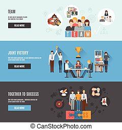 Teamwork management flat interactive  horizontal banners