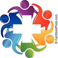 Teamwork medical people logo image
