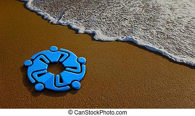 Teamwork Meeting at the Beach. 3D Rendering Illustration