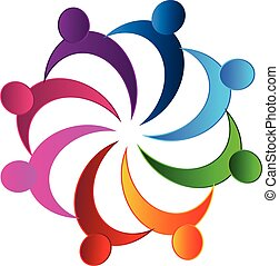 Teamwork meeting business logo