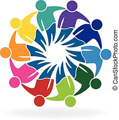 Teamwork meeting business people logo