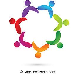 Teamwork meeting people logo - Teamwork meeting people...