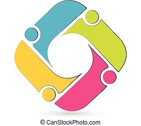 Teamwork meeting people logo