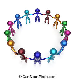 Teamwork men, people circle, social network, individuality concept