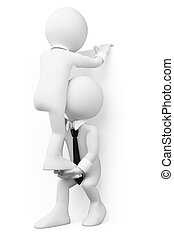 teamwork, mensen., 3d, witte