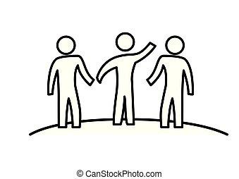teamwork, mensen, silhouette, groep