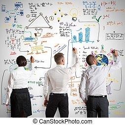 teamwork, met, nieuwe zaken, plan