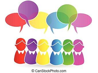 teamwork, mowa, grupa, ludzie