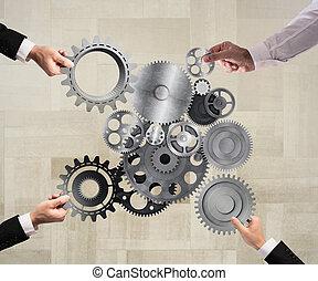 teamwork, och, integration, begrepp
