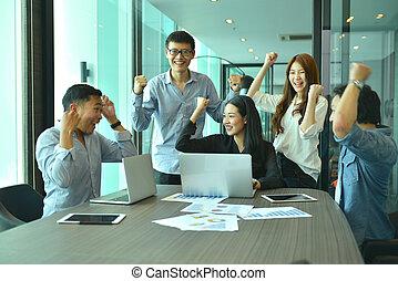 teamwork, od, asian handlowy, ludzie, powieść się, niejaki, projekt, skuwka, drużyna
