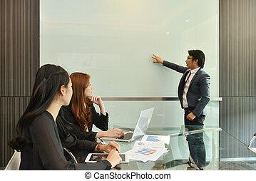 teamwork, od, asian handlowy, posiadanie, niejaki, spotkanie, z, czysty, whiteboard