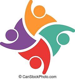 Teamwork of 4 swoosh people logo