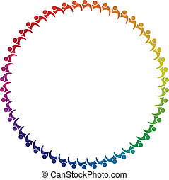 Teamwork of 50 group of people in circle image. Concept of ...