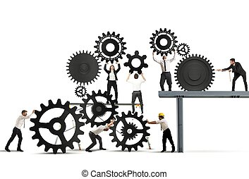 Teamwork of businesspeople at work to build a business...