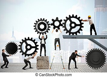 Teamwork of businesspeople - Teamwork works together to...