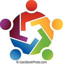 Teamwork of gear people logo