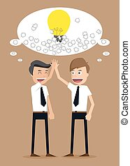teamwork of ideas with businessman