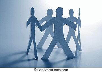 teamwork of paper man