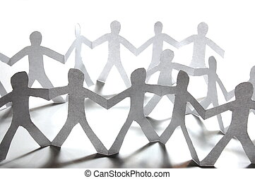 paper people doing teamwork in their business