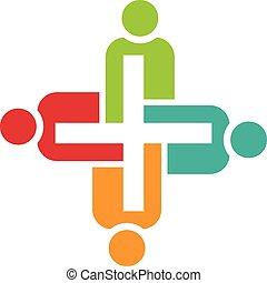 Teamwork of positive people logo