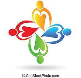 Teamwork of union hearts logo - Teamwork of union hearts...