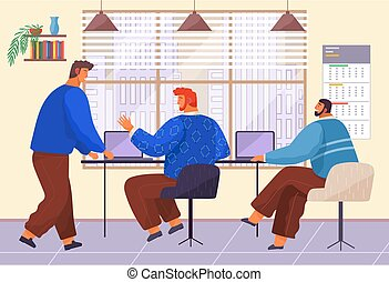 Teamwork, office life, workers men with laptops sitting at table talking, colleagues discussing work