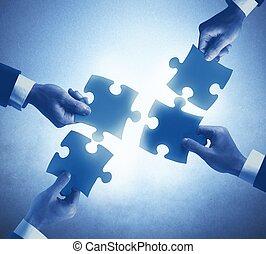 teamwork, og, integration, begreb