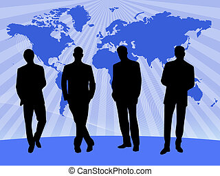teamwork on blue background with world map