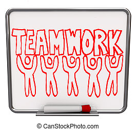 A white dry erase board with red marker, with the word Teamwork drawn with several illustrated people
