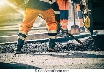 Teamwork on road construction