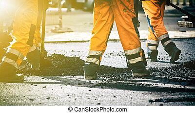 teamwork, op, wegenbouw