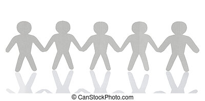 paper people over white background