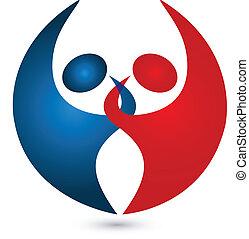 teamwork, para, związany, logo