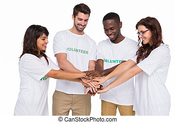 Teamwork participating at charity together on white background