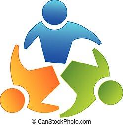 Teamwork partners logo - Vector teamwork concept of...