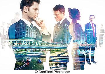 teamwork people and night city