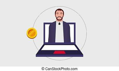 teamwork people animation hd - beard man in laptop online...