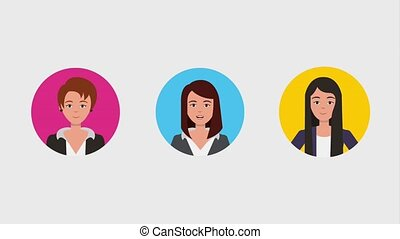 teamwork people animation hd - business women characters...