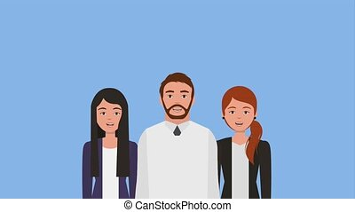 teamwork people animation hd - businessman and businesswomen...