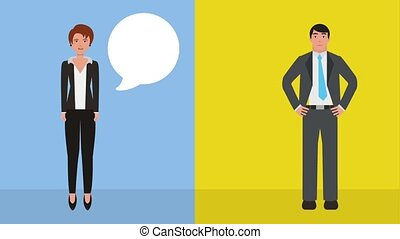teamwork people animation hd - businessman and woman talking...