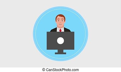 teamwork people animation hd - businessman working with...